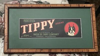 Framed TIPPY Brand Produce USA Crate Label w/ Boston Terrier Dog ~ Nash-De Camp