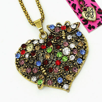 Colorful Crystal Butterfly Love Heart Retro Pendant Betsey Johnson Necklace