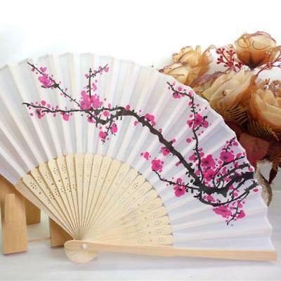 1PC Folding Fan Delicate Japanese Plum Blossom Design Silk Costume Part New T