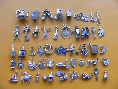 O Vintage Sterling Silver Charm Wagon Flask Slippers Leek Angel Rings Anchor
