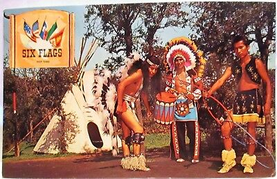 1950S Postcard Indian Village Dancers,six Flags Over Texas