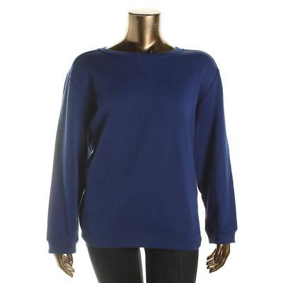 Karen Scott 7542 Womens Blue Fleece Long Sleeves Sweatshirt Plus 3X BHFO
