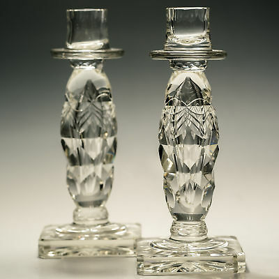 Antique Crystal Bubble Tear Drop Ludwig Kny Cut Match Pair Candlesticks Stunning