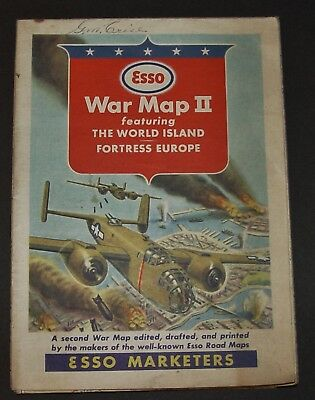 WWII 1940's Esso War Map II Fortress Europe Antique Oil Gas Station Advertising