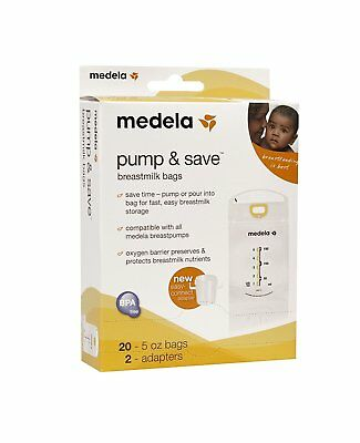 Medela Pump & Save Breastmilk Bags 20 Count with 2 Adapters BPA FREE New in Box
