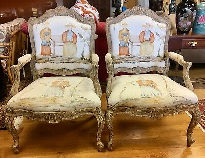Pair Antique French 19th Century Louis XV Grand Salon Arm Chairs 1880's France