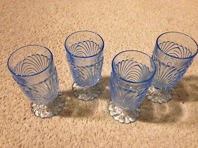 Set Of 4 Blue Caprice Footed Tumblers