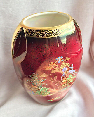 "Crown Devon Red Lustre Pagoda Pattern Decorative Vase 6"" (15.5cm) Tall"