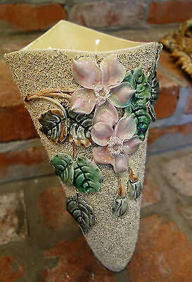 Antique French Majolica Barbotine Wall Pocket Flower Vase Art Nouveau Pink