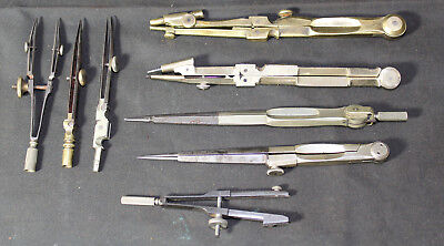 Set of 9 Antique Bronze Brass & Steel Drafting Tools Divider Calipers