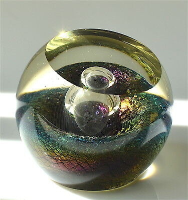 CORREIA  ART GLASS BUBBLING VOLCANO IRIDISCENT PAPERWEIGHT1986 California SIGNED