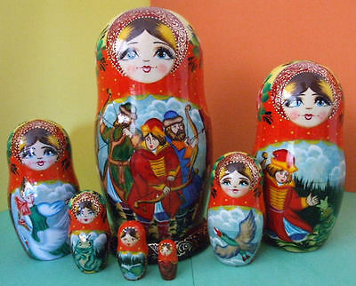 7pcs. Hand Painted Russian Nesting Doll FROG PRINCESS FAIRYTALE