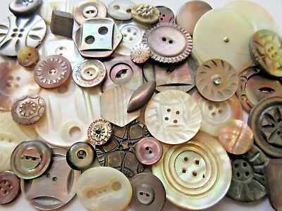 HUGE Lot of 50+ Antique~ Vtg Carved MOP Shell BUTTONS Cut Steels, LARGE, Dyed++