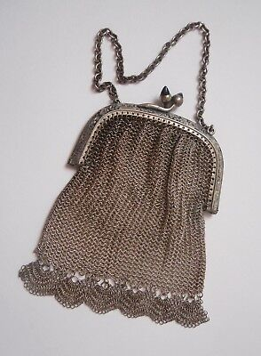 antique Victorian silver plate mesh purse with sapphire