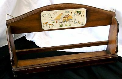 Vintage Wall Hang Wooden Shelf SPICE RACK Kitchen Tool Farm Scene Folk Art