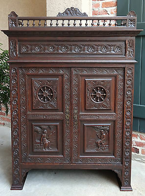 Antique FRENCH Carved Walnut Breton Brittany Bookcase Cabinet Farmhouse Kitchen