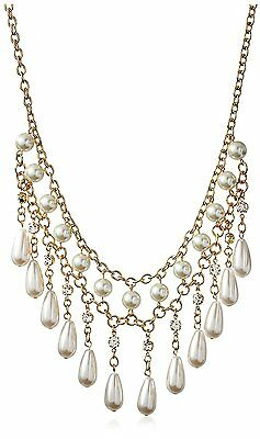 NEW Cohesive Jewels Gold Plated Simulated Pearl Teardrop Bib Necklace NWT