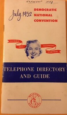 "Unique 4 by 7 1/4"" July 1952 Democratic Telephone Directory by Illinois Bell"