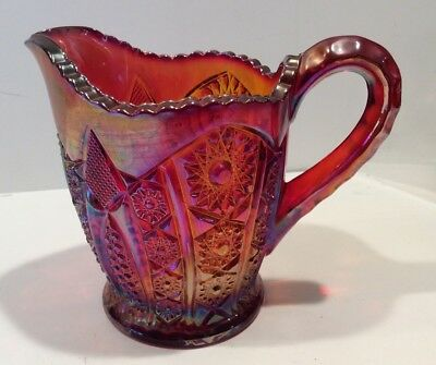 Vintage Imperial Carnival Glass Ruby Red Sunset Heirloom Daisy Creamer