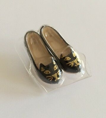 Charlotte Olympia Barbie Doll Black Kitty Flats Shoes