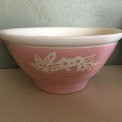"Vintage Cameo Ware Pink 9"" Mixing Bowl - Harker Pottery Co. Usa"