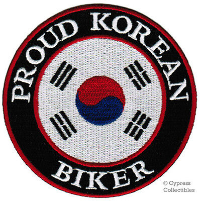 PROUD KOREAN BIKER iron-on PATCH SOUTH KOREA FLAG embroidered applique NEW