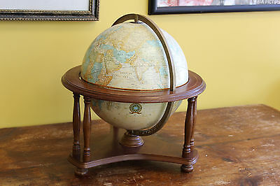 Vintage Crams Imperial World Globe In Wooden Stand
