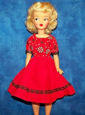 Vintage Barbie Midge Darling Red Black Lace Trim White Flowers Day Dress