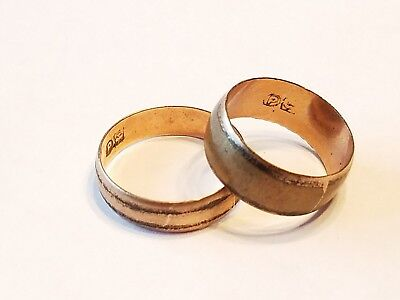Antique English? Rose gold filled his hers wedding band set sz 6 8 vtg lot P
