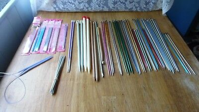 Lot Of 63  Vintage Assorted Knitting Needles-Mostly Metal