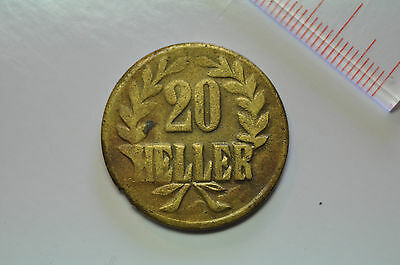 mw8772 German East Africa; 20 Heller 1916 T - Tabora Mint - Emergrncy Coinage