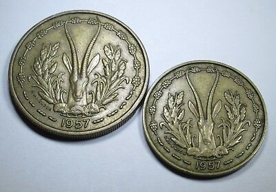 French West Africa 25 & 10 Francs Antique Old France African Currency Coin Money
