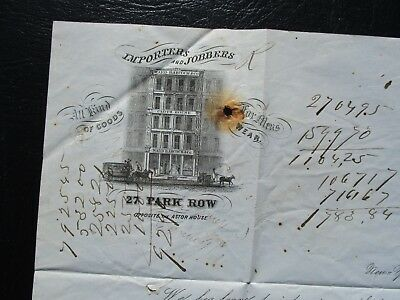 """1851 PIC OF PARK ROW opposite 1st N.Y. Hotel the """"Astor House"""",Stampless Cover!"""