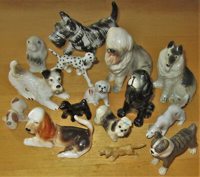 "VTG Ceramic/Porcelain Dog Figurine LOT 15 Puppy Asst Hand Painted Statue 1""- 3"""
