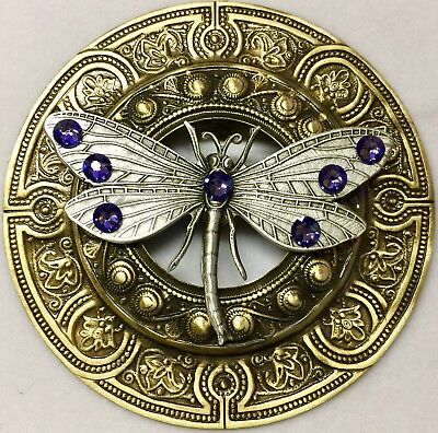 """EXTRA SUPER LARGE 3"""" INCH Silvered Brass Vintage""""JUMBO DRAGONFLY"""" Picture Button"""