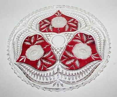 Vtg Cut To Clear Cranberry Red Crystal Cake Plate Platter Tray 12""