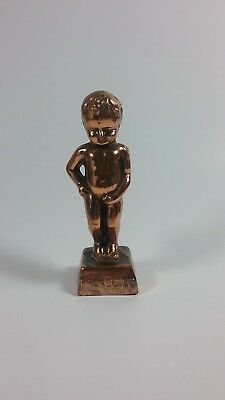 Vintage Brass Copper Bruxelles Peeing Naked Boy Figurine