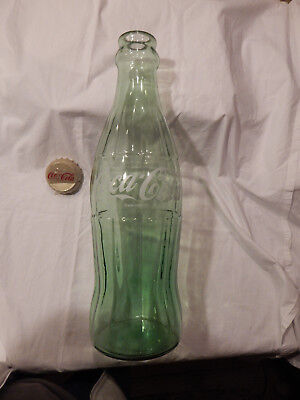 20 INCH TALL GLASS DISPLAY Coca Cola  Hobble Skirt Style Bottle with Cap