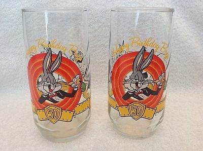 Bugs Bunny,50th Birthday,Glasses,Set of 2,Vintage,1990,TM & Warner Brothers,16oz