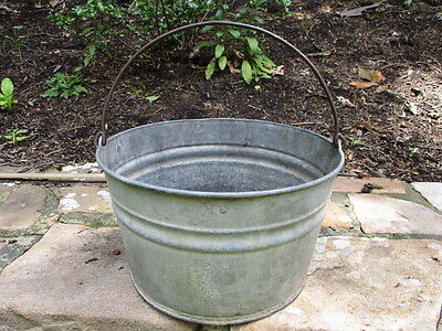 Vtg. Primitive Galvanized Steel Round BUCKET w Bail Handle Garden Decor Planter