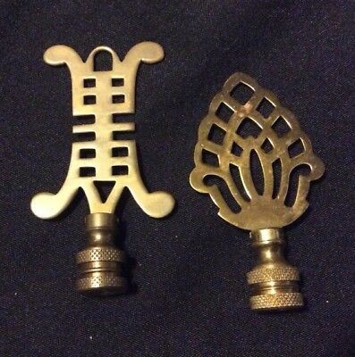 Lot Of 2 Vtg Asian Brass Lamp Finials Light Toppers Old Antique Fancy