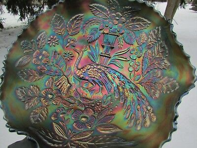 Fenton PEACOCK & URN ANTIQUE CARNIVAL GLASS RUFFLED BOWL~BLUE~BEAUTIFUL COLORS!