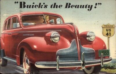 1939 Red Buick - Linen Car Auto Advertising Postcard