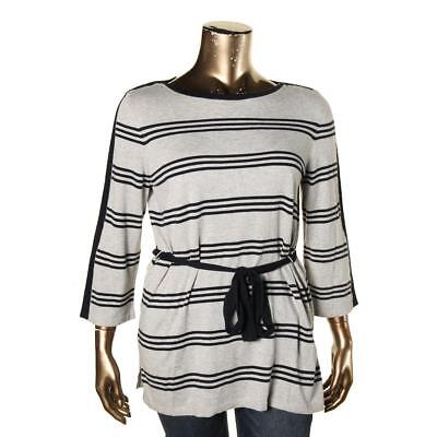 Tommy Hilfiger 2514 Womens Navy Knit Striped Pullover Sweater XL BHFO