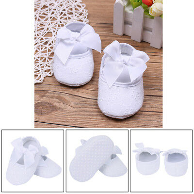 Newborn Girls Baptism Shoes Cotton Lace Floral Christening Crib Booties SZ 0-9M