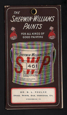 Scarce 1902 Antique Trade Card Calendar - SHERWIN-WILLIAMS PAINTS w/paint chips
