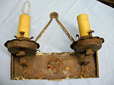 c1920's ART DECO Iron Wall Dual Candle Light Sconce Fixture Candelebra 10+""