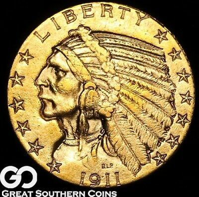 1911 Half Eagle, $5 Gold Indian, Nice Rich BU++ Look ** Free Shipping!