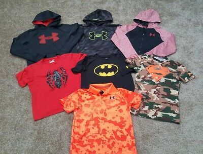 Boy's Large 7-Piece UNDER ARMOUR Mixed HOODIE/SHIRTS LOT sz Youth Large