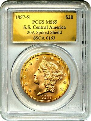 1857-S S.S. Central America Shipwreck $20 PCGS MS65 (Spiked Shield)